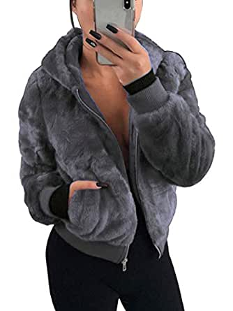 NVXIYYA Women Fuzzy Shaggy Jacket Thick Warm Faux Fur Parka Coat Trench Coat with Hoodies and Pockets Dark Grey M