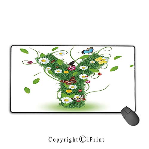 Flora Vineyard Springs - Non-Slip Rubber Base Mouse pad,Letter Y,Spring Themed Warm Climate Flora and Fauna Green Capital Nature Inspirations Decorative,Green Multicolor,Suitable for laptops, Computers, PCs, Keyboards, Mouse