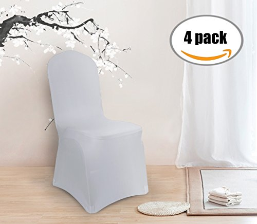 Deconovo Set of 4pcs Light Grey Chair Covers Folding Chair Cover for Wedding Banquet Party (Dining Set Banquet)
