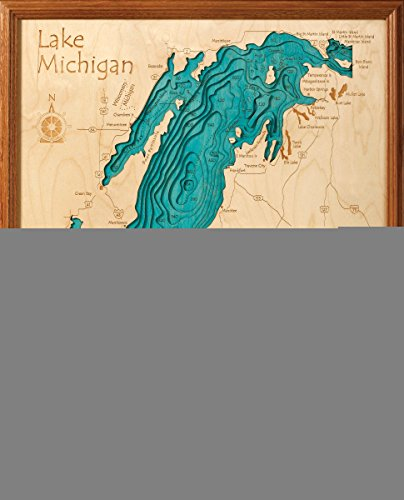 Amston Lake in Tolland New London, CT - 3D Map 16 x 20 IN - Laser carved wood nautical chart and topographic depth map. by Long Lake Lifestyle