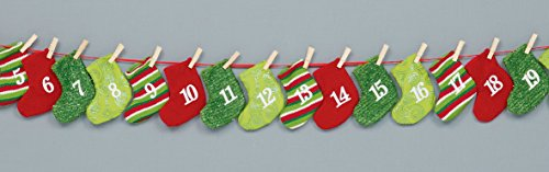 Premier Christmas Stockings Fabric Advent Calendar Garland With Pockets For Treats