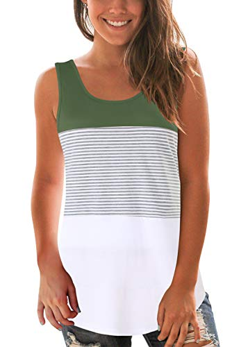 - SMALOVY Women Loose fit Tank Tops Striped Round Neck Sleeveless Tshirts Green XL