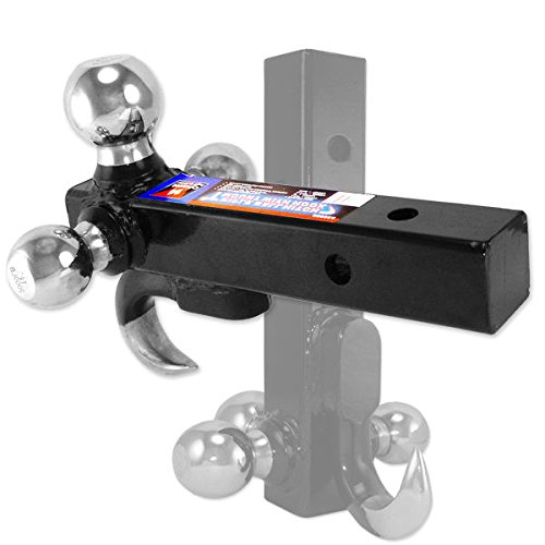 Neiko 20038A 4-in-1 Steel Trailer Hitch and Triple Ball Mount with Hook | 1-7/8'', 2'', 2-5/16'' Balls | 7500 Lb Capacity by Neiko
