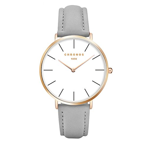 Gold Ladies Watch Band (Simple Women Men Quartz Watch PU Leather Strap Ladies Gentlemen Dress WristWatch, Grey-Rose Gold)