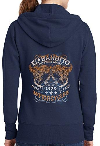 Womens El Bandito Full Zip Hoodie, Navy, 4X