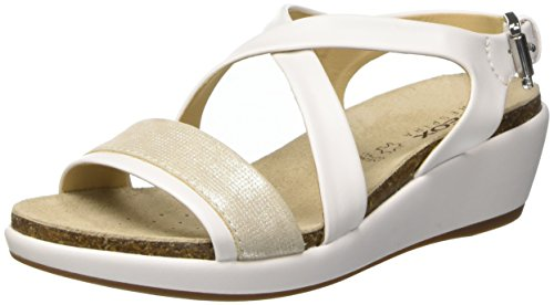 Geox D Abbie a, Sandalias con Cuña para Mujer Blanco (WHITE/SILVERC0007)