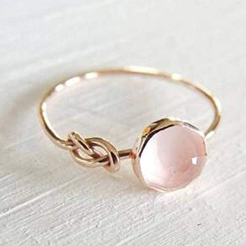 Moonstone Rose Ring - ZHQUN Luxurious Natural Gemstone Pink Moonstone Ring Solid Rose Gold Ring (8)
