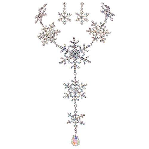 EVER FAITH Silver-Tone Tear Drop Snowflake Necklace Earri...