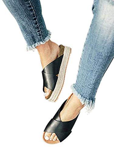 - SurBepo Women's Platform Espadrilles Criss Cross Slide-on Open Toe Faux Leather Studded Summer Sandals (9 B(M) US-EU Size 41, 2-Black)