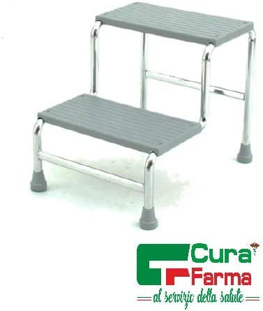 Originale Cura Farma 2 gradini 2 Gradini Predellino Scaletta scendieltto in acciaio cromato ad 1