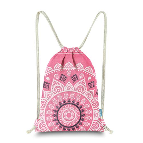 (Miomao Drawstring Backpack Gym Sack Pack Mandala Style String Bag With Pocket Canvas Sinch Sack Sport Cinch Pack Christmas Gift Bags Beach Rucksack 13 X 18 Inches Strawberry Pink)