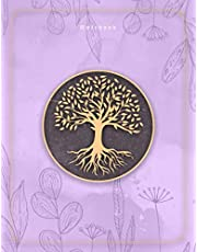 Notebook: Hand Drawn Tree Life In Golden Mauve Color Background Cover Lined Journal - 8.5 x 11 inch (21.59 x 27.94 cm), A4 Size, 110 Pages