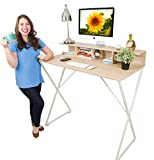 Stand Steady Joy Desk | Modern Standing Desk Workstation with Storage Cubbies | Pretty Standing Desk w/Spacious Desktop | Multifunctional Table - Great for Home, Office & More (Maple / 47.5' x 41.5')
