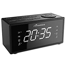 Upgraded iTronics LED Dual Alarm Clock Radio with USB Charging, Digital AM/FM Radio, Snooze, Brightness Control and Battery Backup Functions