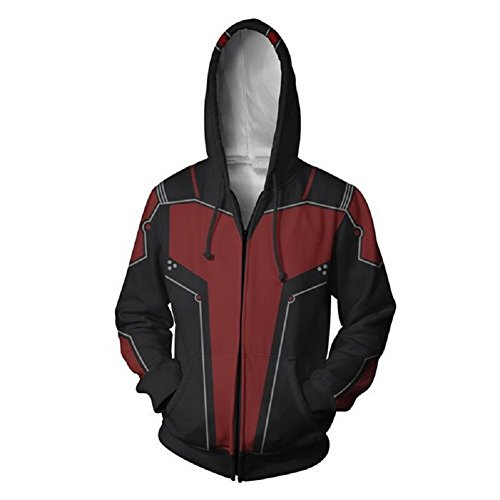 Joyfunny Super Hero Hoodie Classic Red and Black Jacket Halloween Cosplay Costume M