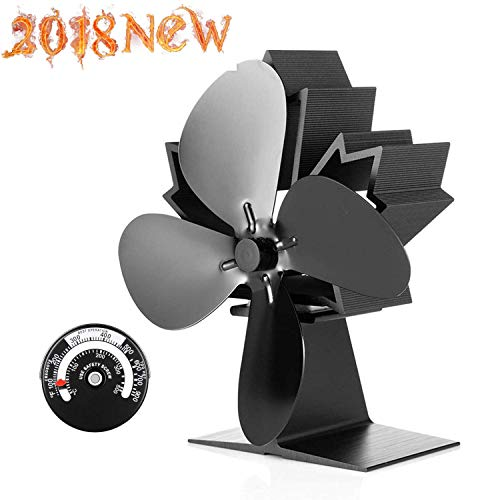 Stove Fan for Wood Fireplace,Heat Powered Stove and Log Burner,Ultra Silent Operation 4 Blades Chimney Fan, Eco Friendly,Super Strong Air Volume,[A++++]