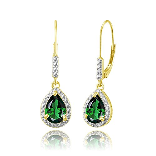 Yellow Gold Flashed Sterling Silver Simulated Emerald Teardrop Dangle Leverback Earrings