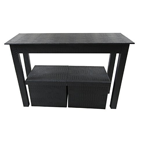 Instant Mosaic 50107 Patterned Black Leatherette Console and 2 Matching Storage Ottomans (Set of 3) by Instant Mosaic
