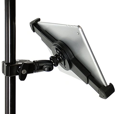 iShot G10 Pro iPad Universal Tablet Tripod Monopod Mic Music Stand Mount + HD Metal Pipe Pole Bar Clamp 1/4-20 Connector for Displays, Musicians, Videos and More - Compatible with iPad & 7-11 Tablets