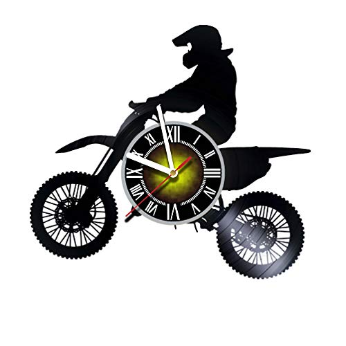 Toffy Workshop Off-Road Motorcycles Vinyl Record Wall Clock for Extreme Bikers – Exciting Guest Room Decor idea for Children, Adults, Men and Women – Rider Motorcyclist Unique Art Design For Sale