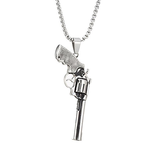 MCSAYS Hip Hop Jewelry Big Revolver Pendant Stainless Steel Gun Necklace (Silver) by MCSAYS