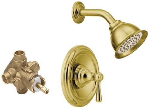 Moen T2112P-2520 Kingsley Posi-Temp Shower Trim Kit with Valve, Polished Brass