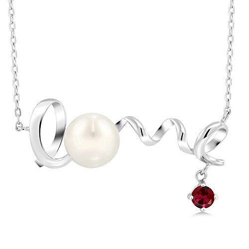Gem Stone King 0.40 Ct Round Red Created Ruby 925 Sterling Silver Cultured Freshwater Pearl Love Pendant With Chain