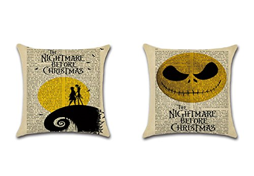 PSDWETS 2Pack Halloween Decorations Cute Emoji The Nightmare Before Christmas Pillow Covers Home Decor Cotton Linen Throw Pillow Covers Cushion Cover 18 X 18 -