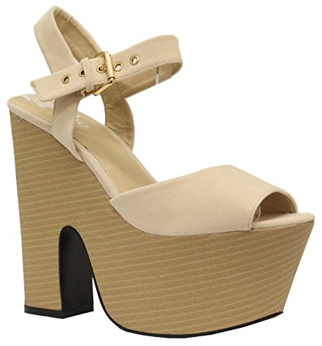 Saute Styles - Sandalias de vestir para mujer LIGHT CREAM SUEDE