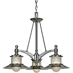 "Luxury Nautical Chandelier, Medium Size: 22""H x 25""W, with Coastal Style Elements, Hooded Design, Pretty Brushed Nickel Finish and Acid Etched Glass, UQL2530 by Urban Ambiance"