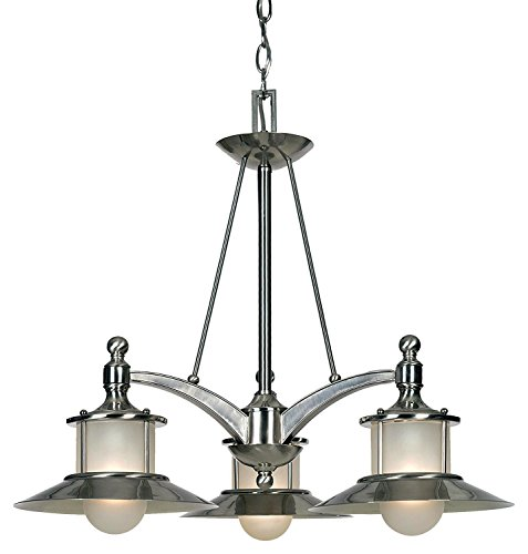 """Luxury Nautical Chandelier, Medium Size: 22""""H x 25""""W, with Coastal Style Elements, Hooded Design, Pretty Brushed Nickel Finish and Acid Etched Glass, UQL2530 by Urban Ambiance"""