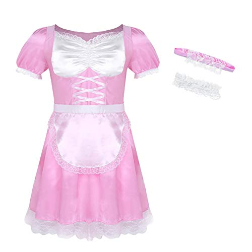 inlzdz Men's Frilly Satin Flutter Sissy French Maid Dress Costume Crossdress Nightwear Pajamas Pink Medium -