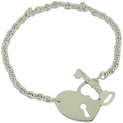 - The Olivia Collection TOC Sterling Silver Heart Lock & Key T-Bar Bracelet 7