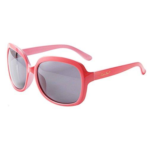 (LianSan Oversized Women's Uv400 Protection Polarized Sunglasses Simple Sunglasses Lsp301(polarized red 2) )
