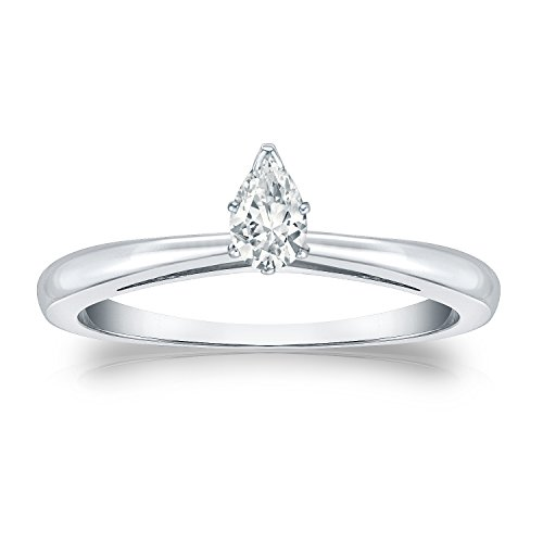 (Diamond Wish 14k White Gold Pear Shaped Solitaire Diamond Ring (1/4ct White, SI1-SI2) V-Prong Set, Size 7 )