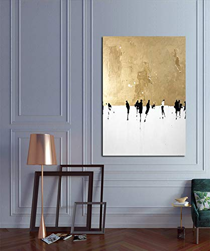 - Faicai Art Abstract Metallic Gold Paintings Canvas Wall Art Thick Texture Palette Oil Paintings with White Background Modern Home Decor Pictures for Living Room Office Wall Decorations Framed 24