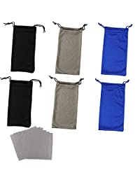 6 Pack Soft Microfiber Sunglasses Drawstring Pocket Pouch with 6 Grey Cleaning Cloth High Quality Eyeglasses Storage Pouch Portable Eyeglass Storage Bag (2 Blue/2 Black/2 Grey)