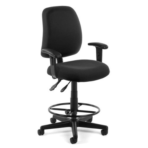 Ofm Stain Resistant Seating - Stool With Arms - 23-27'', 27-31'' Seat Height - Black - Black by OFM