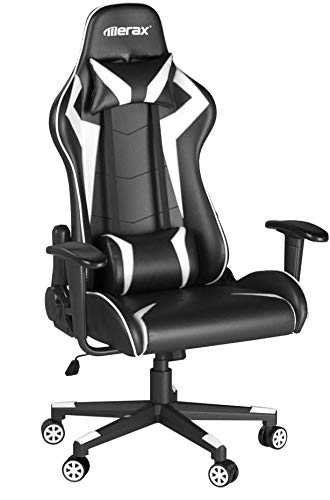 Merax High-back Gaming Chair Ergonomic Design Office Chair Racing Style Computer Chair (white and black) Merax