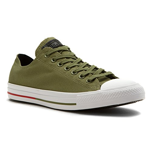 Converse Mens Mandrin Taylor Tout Étoile Bouclier Toile Ox Mode Sneaker Chaussure Fatigue Vert / Blanc / Signal Rouge