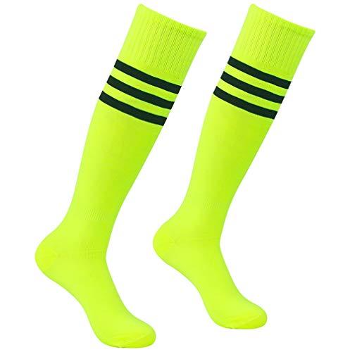 Long Football Socks, Atrest Unisex Over-The-Calf Striped Athletic Sport Tube Cheering Squad Socks For Soccer Baseball Softball Fluorescent Green+Black Stripe 2 Pairs