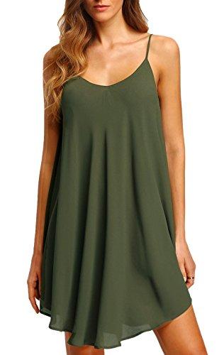 Chamllymers Women's Chiffon Sexy Sleepwear Slip Chemises Nightshirt Olive Green M