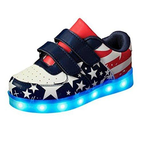 (Present:kleines Handtuch)JUNGLEST® LED Sportschuhe Kinder USB Aufladen 7 Lichtfarbe Sternen LED Leuchtend Sport Schuhe Kinderschuhe PU Sneaker Turnschuhe initial