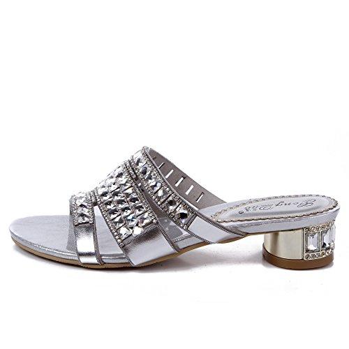 Unicrystal tacón bajo de la mujer plata diamante noche Slip en Mulas sandalias zapatos talla