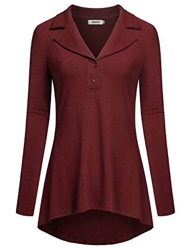 BEPEI Stylish Blouses for Women, Lightweight Knit Shirts Lon