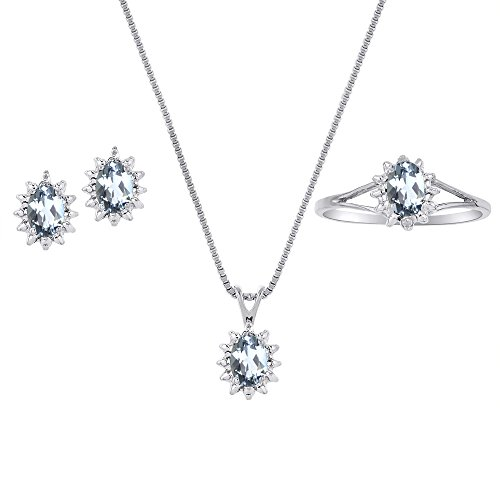 Genuine Natural Aquamarine & Diamond Pendant, Earrings & Ring Set in Sterling Silver .925 with Chain and Gift Box