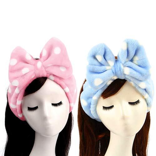 - 2 PCS Sweet Super Soft Caroset Wash Cosmetic Headband (Pink Polka Dots & Blue Polka Dots)