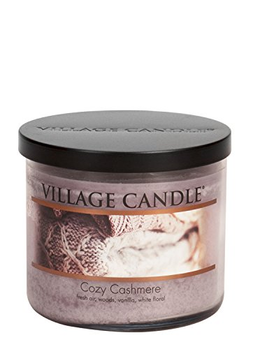 Village Candle Cozy Cashmere 17 oz Glass Bowl Scented Candle, (Cozy Cashmere)