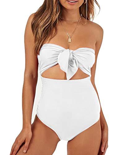 (Lwaoien Womens One Piece Monokini Bikini Swimsuit Sexy Strapless Tie Knot Front High Waist Backless Bathing Suit Tummy Control Swimwear White (S))