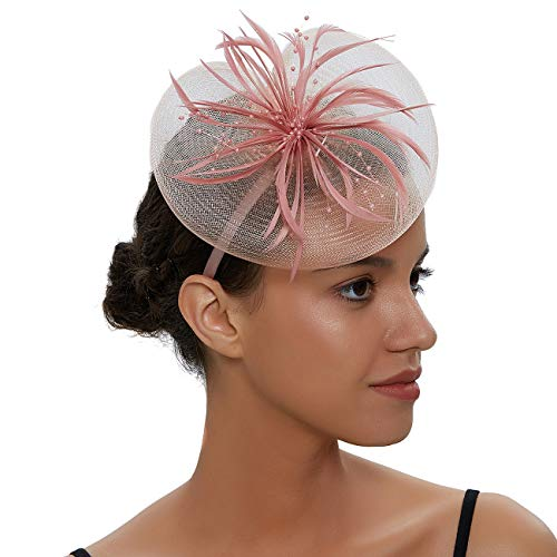 Free Yoka Womens Fascinators Feather Pillbox Hat Cute Beads for Cocktail Kentucky Derby Ball Wedding Church Party (Pink01)]()